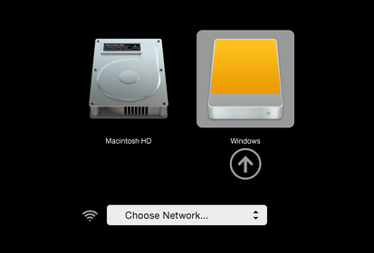 Screen with the logo of an internal hard disk labeled 'Macintosh HD' and an external hard disk labelled 'Windows' (selected)